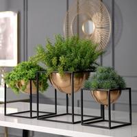 Luxury Gold Black Metal Frame Semicircular Flower Pot Art Vase Tabletop Green Plant Dried Flower Pot Home Office Vases Decor