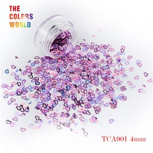 Tct-050 полые сердца Форма Лазерная красочные Глиттеры для ногтей 4 мм Размеры для ногтей Гели для ногтей украшения Макияж facepaint DIY украшения - Цвет: TCA901  200g