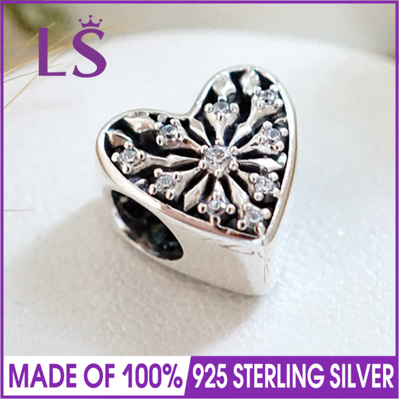 LS High Quality 100% Real 925 Silver Frosted Heart Charm Beads Fit Original Bracelets Pulseira Encantos.100% Same.Fine Jewlery.J