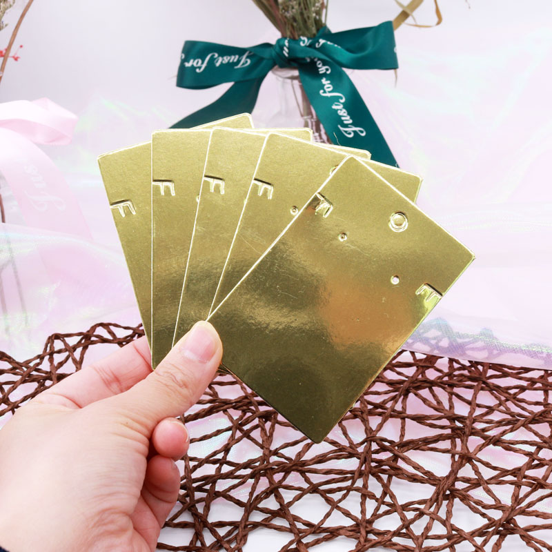 Hot Sale 50Pieces/Lot 6X9CM Earrings Display Fashion Jewelry Golden Card Customized Logo Handmade Earring  Packing Card Fashion