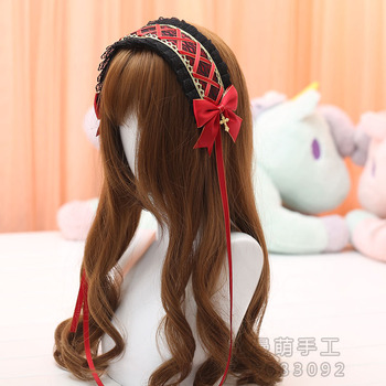 Vintage Japanese Gothic Lolita Girl Cross Pendant Headband Lace Bow Headwear Cosplay Hair band Hairpin Accessories 13 Colors 1