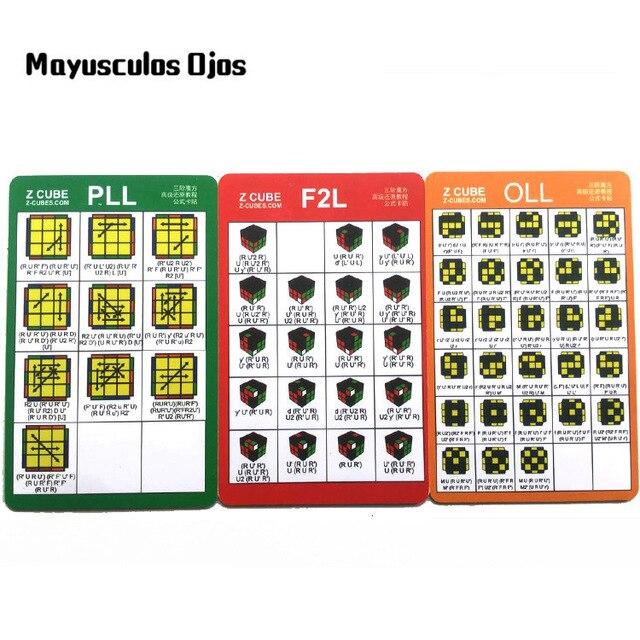 MF 3PCS ZCUBE CFOP Rack Card Magic Cube Speed Twist Formula F2OLLPLL Advanced Tutorial