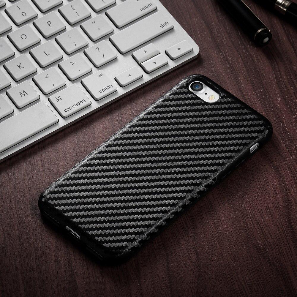 Silikonska futrola od karbonskih vlakana 3D tekstura TPU za iPhone 11 Pro Max 7 7 Plus kućište Stražnji poklopac za iPhone 5s 6 7 7p kućište