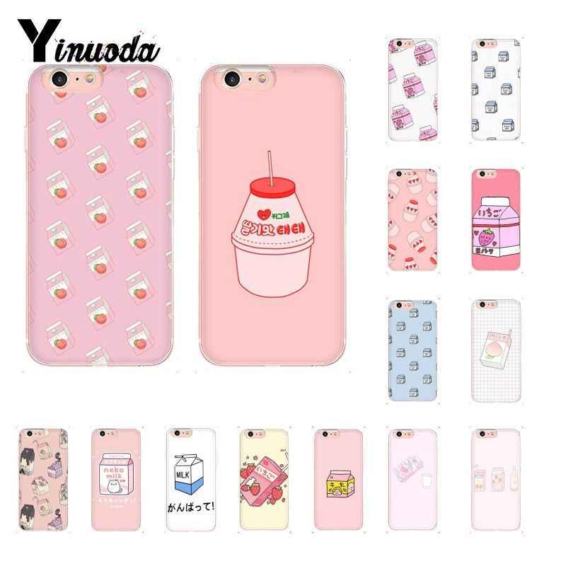 Yinuoda Kawaii Japanese Strawberry Milk Pattern TPU Soft Phone Case for iPhone 8 7 6 6S.jpg q50
