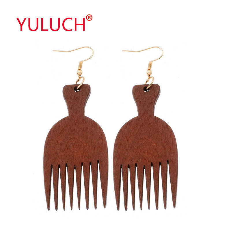 YULUCH Ethnic Design Wooden Comb Pendant Earrings for African Fashion Women Jewelry Earrings Wedding Gifts