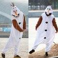 Олаф косплей-костюмы взрослые Onesie пижамы комбинезон сделано с толстый мягкий фланель хэллоуин карнавал ну вечеринку одежда