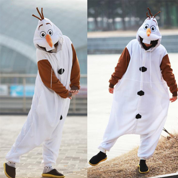 Olaf Cosplay Costume Adult Onesies Pajamas Jumpsuit Made With Thick Soft Flannel Halloween Christmas Carnival Party Clothing