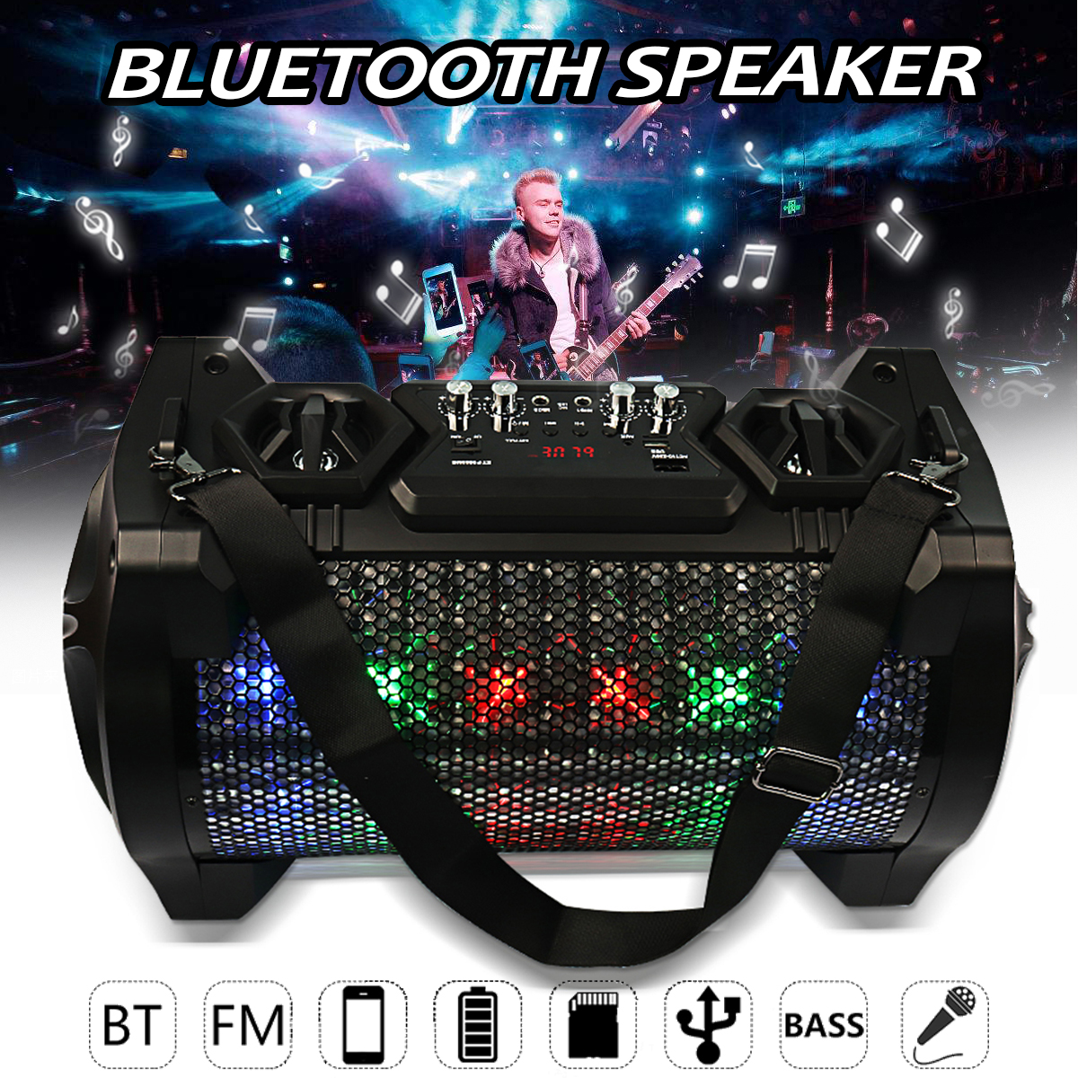 Portable Wireless Bluetooth Speaker Bass Stereo FM Radio AUX/USB/TF Card Loudspeaker Subwoofer Handfree For Outdoor Music Player exrizu ms 136bt portable wireless bluetooth speakers 15w outdoor led light speaker subwoofer super bass music boombox tf radio