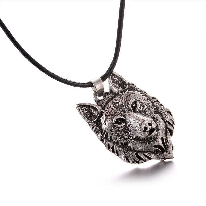 1Pc kreatywny tybetański srebrny wilk dyrektor wisiorek naszyjnik Amulet zwierząt moda mężczyźni prezenty biżuteria