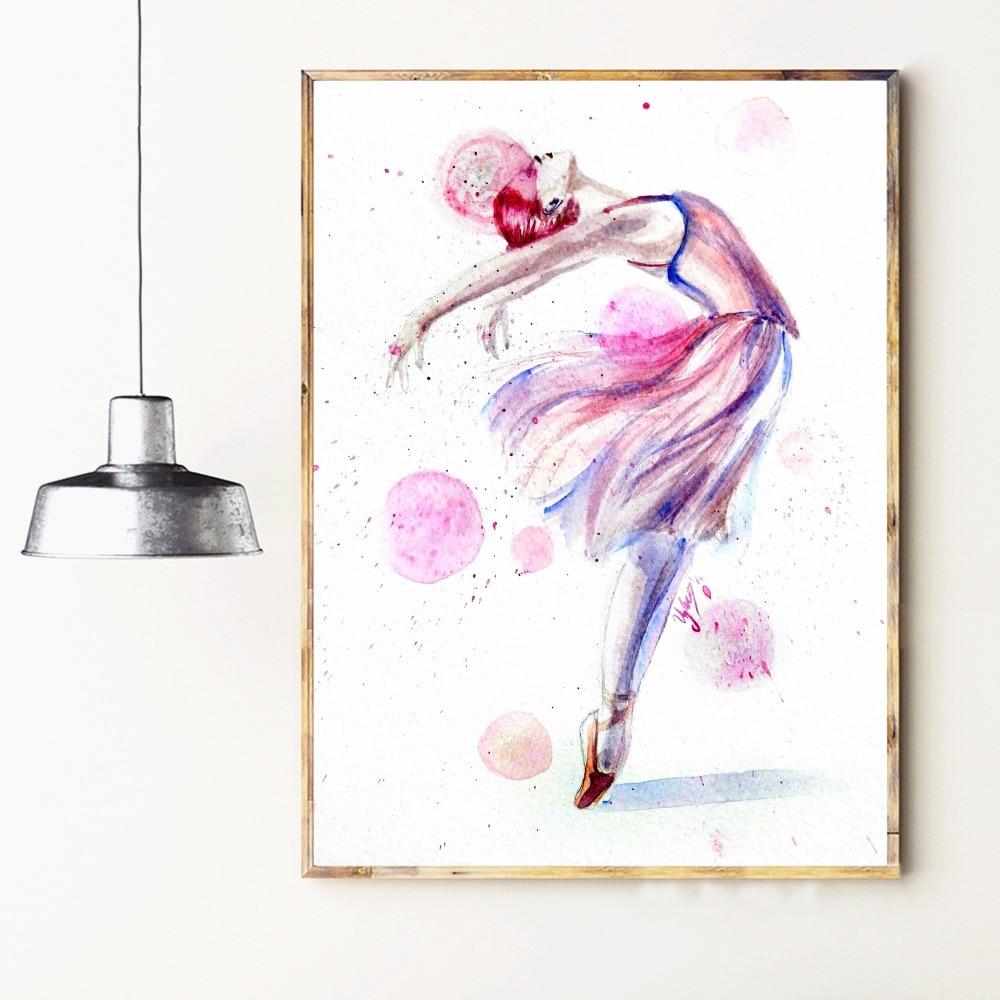 Acuarela Bailarina Mujeres Arte de la Lona Impresión Pintura Cartel - Decoración del hogar - foto 2
