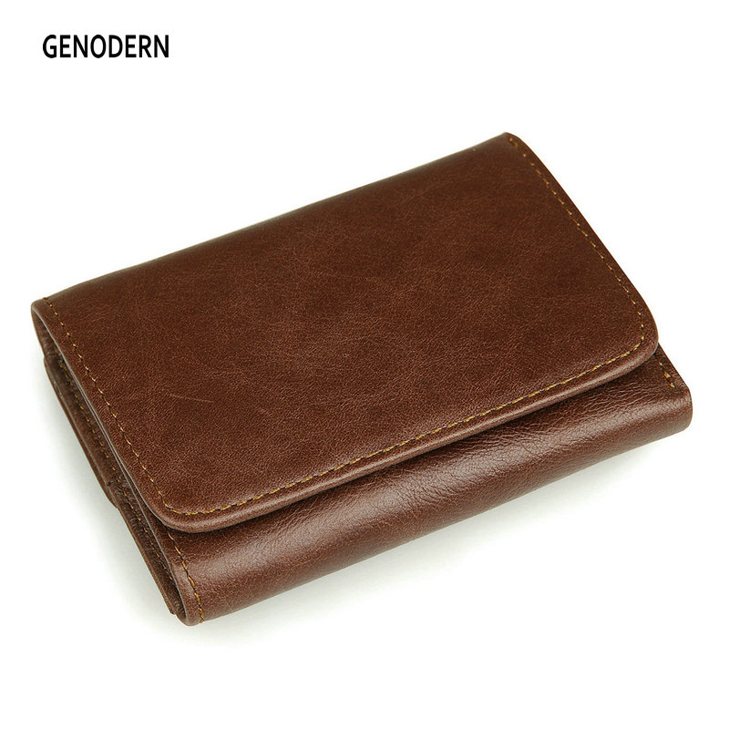 GENODERN 100% Top Cow Leather Men Wallet Vintage Korea Multifunctional Male Purse RFID Anti-magnetic Leather Wallet genodern 100