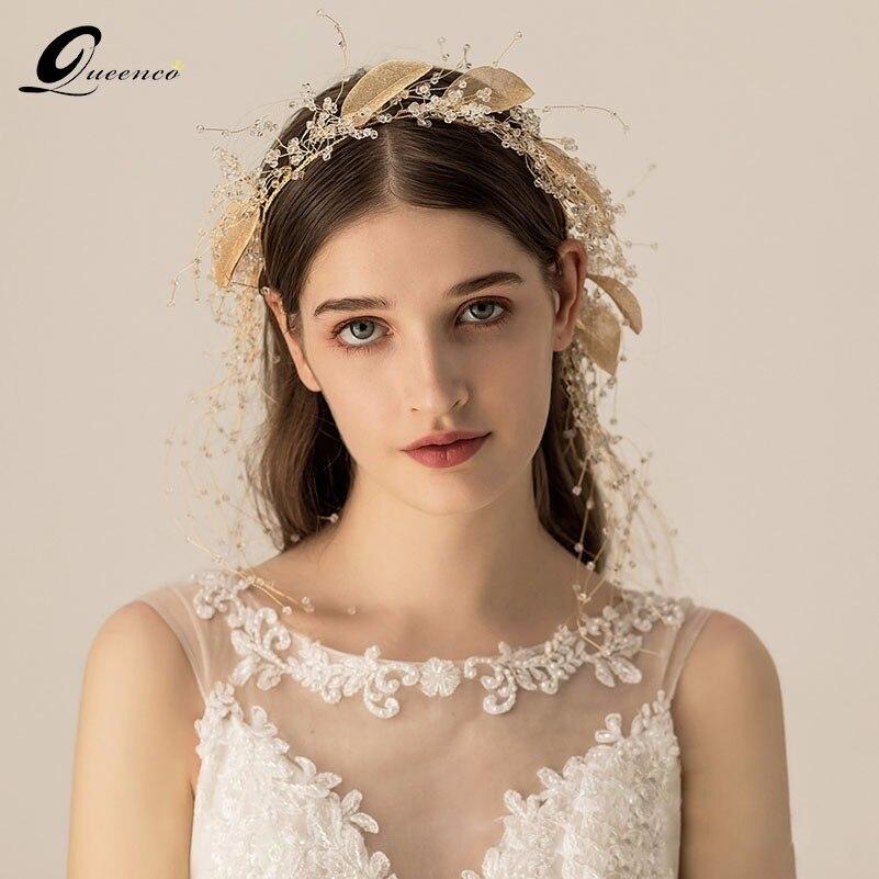 Luxe Vintage feuille tiare cristal mariage couronne bandeau or/argent mariée cheveux bijoux accessoires pour filles fête bandeaux