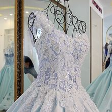 Backlake Robe Mariage Femme 2018 Ball Gown Beading Lace Up Back Ivory and  Blue Satin Rhinestone One Shouder Wedding Ball Gowns 902e36d06196