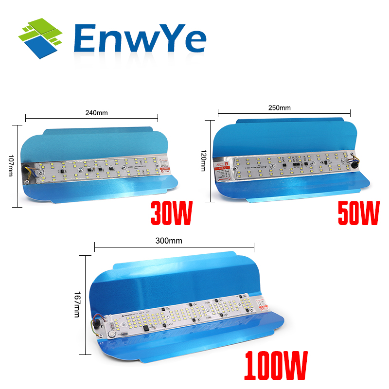 EnwYe nueva lámpara LED de tungsteno yodita 30W 50W 100W luz fría AC 220V 240V iluminación exterior iluminación sitio construcción reflector