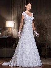 vestido de noivas 2015 new fashion Sexy v-neck casamento A-line cap sleeve lace bride wedding Dress