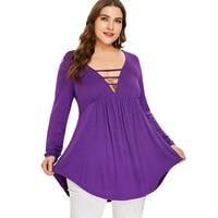SexeMara Plus Size Lace Up Long Sleeve Empire Waist Plunging Neck T shirt Purple Women Long Sleeve Sexy Hallow Back Tshirt