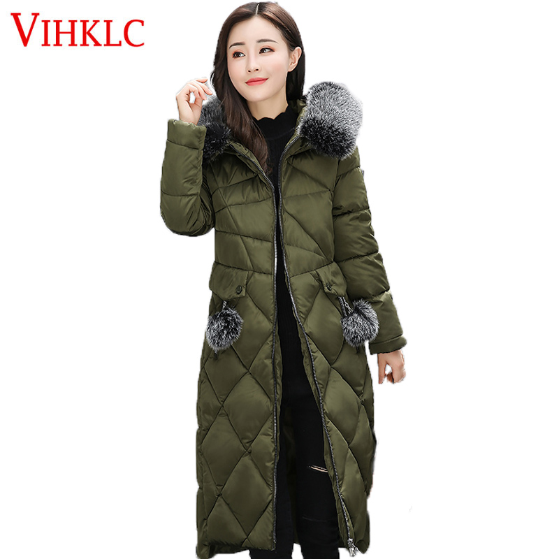 2017 Women Winter Coat fashion slim Wadded Jacket Big Fur ...
