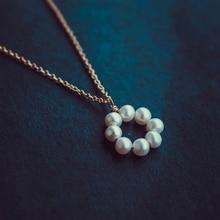 Collar de perlas rellenas de oro, joyería Vintage, collar de dijes minimalistas, bisutería para mujer, collar bohemio para mujer, Collier