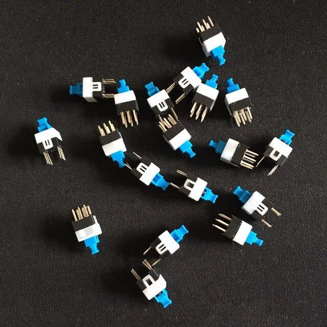 30PCS 6 Pin Square 7mmx7mm New Product DPDT Mini Push Button Self-locking Switch