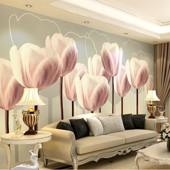 3d Murals Papel de parede HD Purple Tulip Flower Mural 3D Wall Mural Wallpaper for Sofa Background Living Room 3d Photo Murals 3d papel de parede artificial bamboo wallpaper mural rolls for background 3d photo wall paper roll for living room cafe