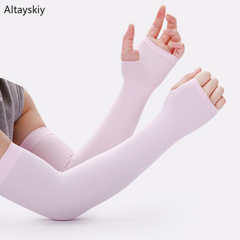 Arm Warmers Women Solid Summer Breathable High Elasticity Thin Sunscreen Womens All-match Outdoor Leisure Simple Trendy Chic New