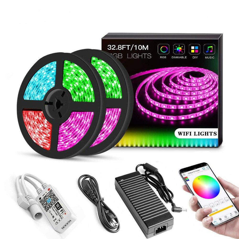 Dyue ampoules LED IP65 LED étanche lumière de bande Wifi SMD 5050 ruban coloré commande vocale intelligente RGB LED éclairage de corde DC 12 V