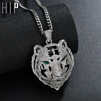 Iced Out Bling Tiger CZ AAA Zircon 100% Copper Animal Shape Necklace & Pendants For Men hip hop jewelry Dropshipping