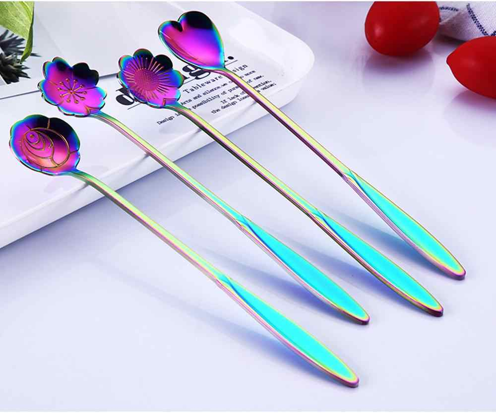4pcs Gilded Flower Petals Colorful Cherry Blossom Spoons 1Set Kitchen Tool Stainless Steel Teaspoons Tableware Wholesale @50