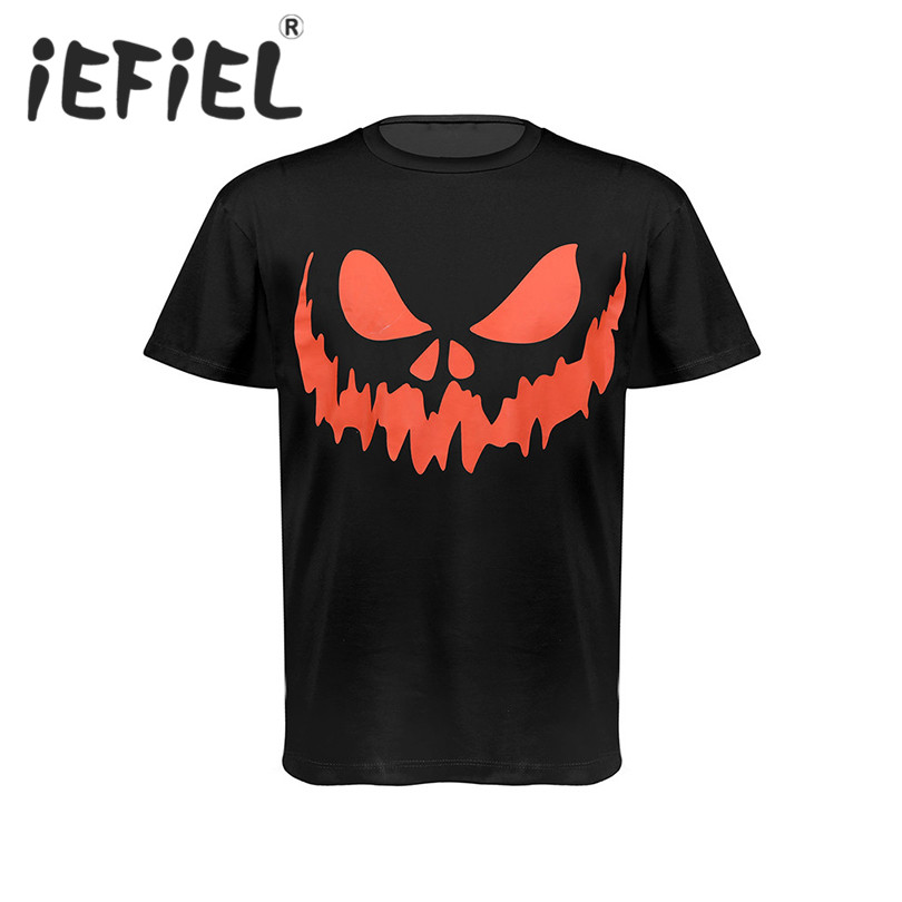 iEFiEL Fashion Men Short Sleeves Crew Neck Loose Style Scary Face Graphic Printed Halloween Cosplay Costumes T-shirt Tops Tees