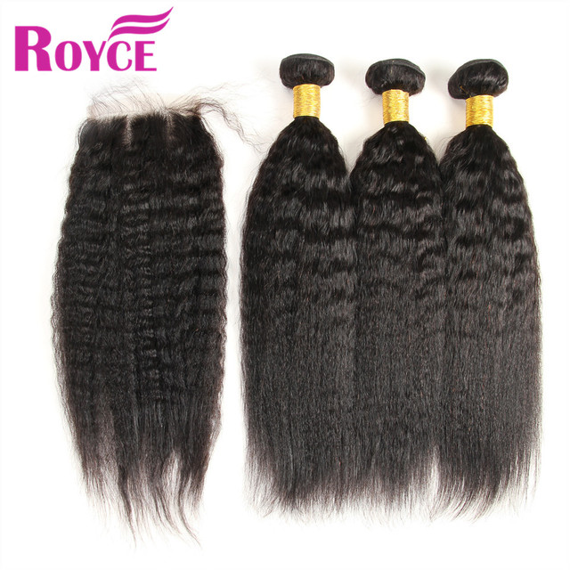 7A Indian Virgin Hair With Closure Indian Kinky Straight 3 Bundles With Lace Closure 100% Italian Yaki Human Hair With Closure