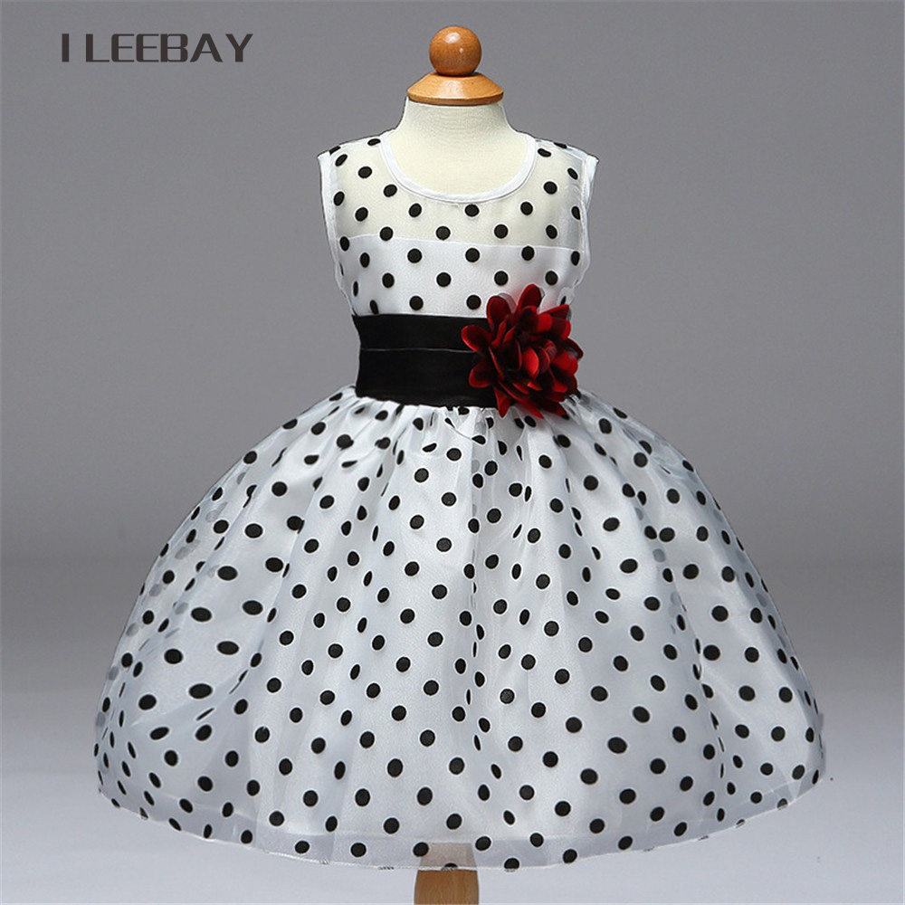 Baby Girls Dress Brand Summer Style Floral Party Flower Girl Dresses for Weddings Kids Polka Pot Princess Costume with Bow Belt girl dress nova kids brand flower girl party dress for weddings summer girls fashion sleeveless with dot children clothing h2878