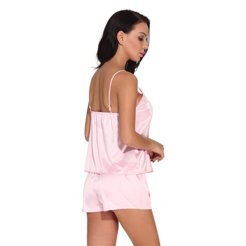 1659776d5 Verão Sexy Short de Cetim Pijamas Set Pijama Mulheres Camisola e ...