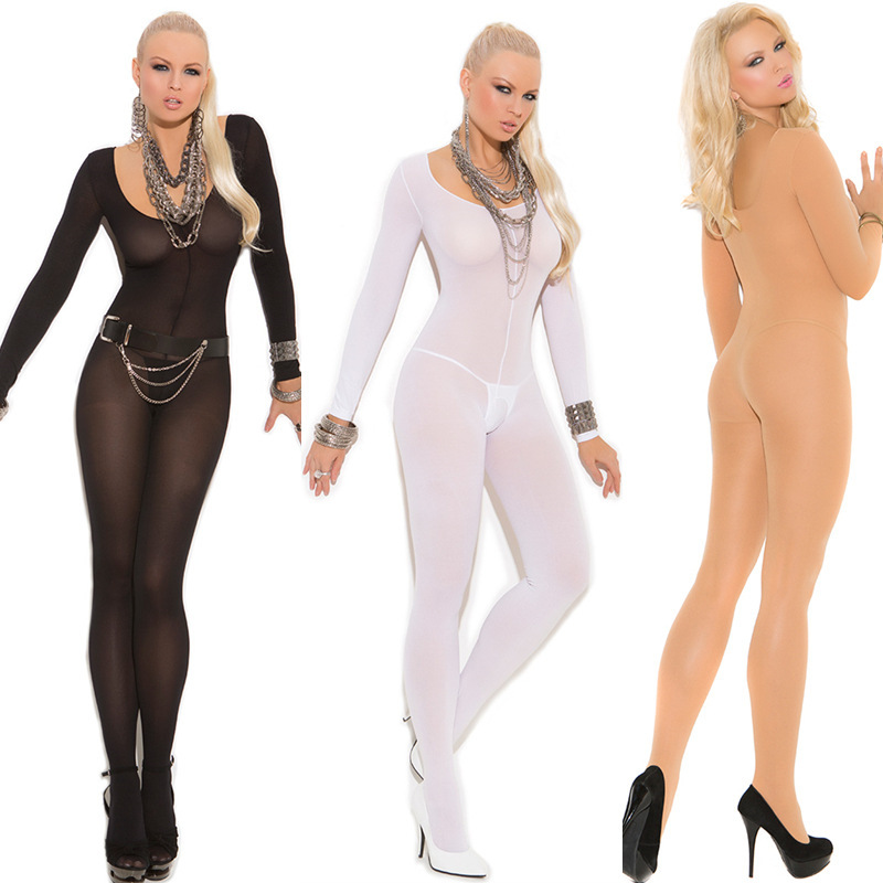 Crotchless Sheer Bodystocking Full Body Pantyhose Ultra-thin Transparent Long-sleeve Open Crotch Strap Tights Lingerie Teddy(China)