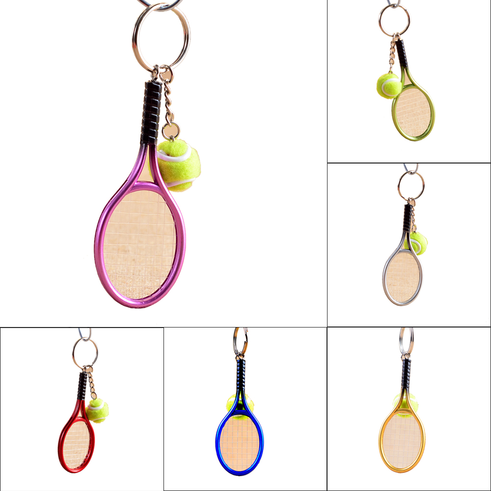 1 pcs Creative Mini Tennis Racket Keychain Cute Sport Tennis Ball Keyring Car Bag Pendant