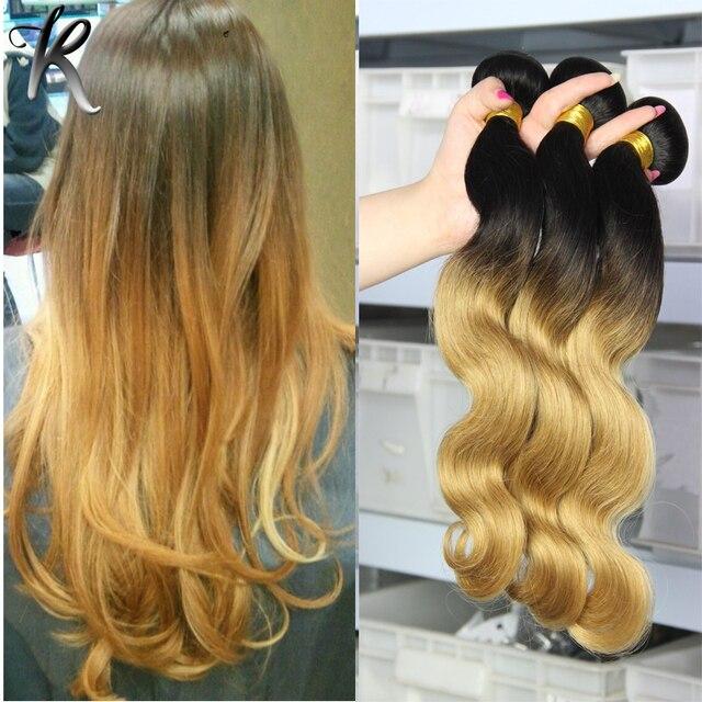 Body Wave Mongolian Virgin Hair Sale 3pcs Honey Blonde Omre Hair