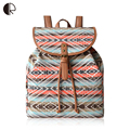 2016 Canvas Printing Backpacks Women Colorful Striped Bohemian Style Cover Travel Bags High Quality School Bags mochila BP760