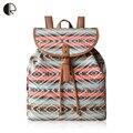 2016 Mochilas de Lona de Impresión de Las Mujeres de Rayas de Colores de Estilo Bohemio Cubierta BP760 Mochilas escolares mochila Bolsas de Viaje de Alta Calidad