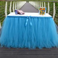1Yard 91cm Long Tulle TUTU Table Skirt Tableware Wedding Party Xmas Baby Shower Birthday Decor Customized