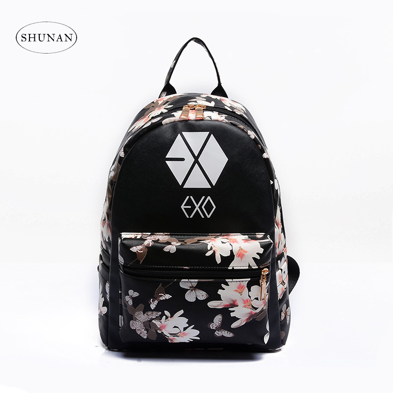 2017 Korean Summer New Fashion Butterfly Flower Backpacks For Teenager EXO Bigbang GD MADE TOP BTS Backpacks For Girl School Bag bigbang 2012 bigbang live concert alive tour in seoul release date 2013 01 10 kpop