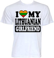 MENS FUNNY COOL NOVELTY LITHUANIAN GIRLFRIEND LITHUANIA FLAG JOKE GIFTS T-SHIRTS T Shirt For Men/Boy Short Sleeve Cool Tees(China)