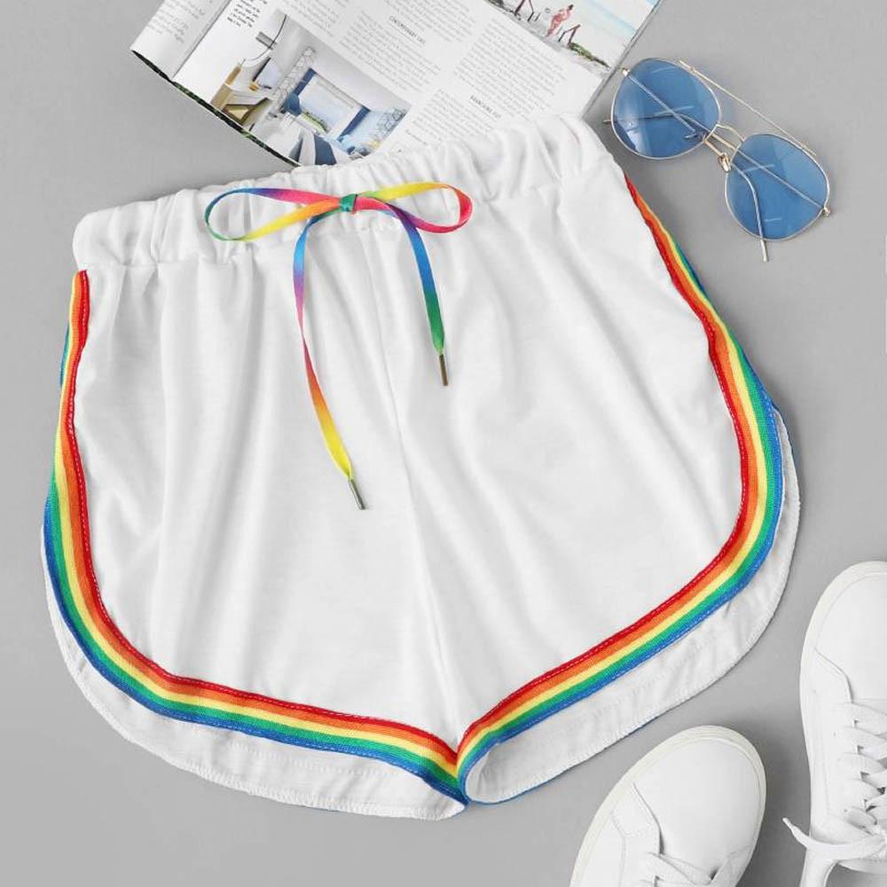 Womail Women shorts summer Casual Rainbow Print Sport Elastic Short Beach Loose Trousers denim color Skinny  j23