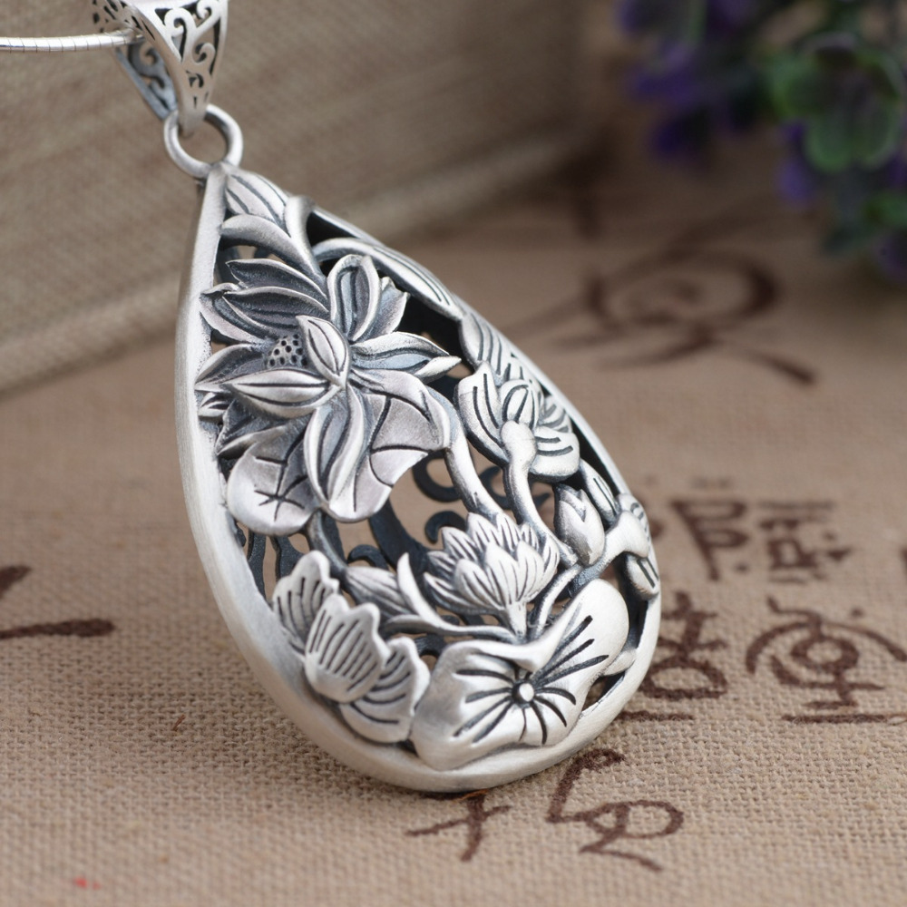 Balmora Authentic 925 Sterling Silver Jewelry Vintage Lotus Flower