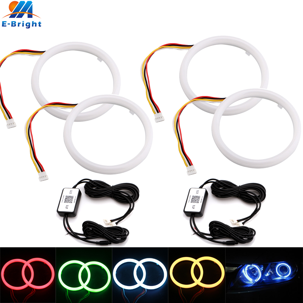 4Pcs 2Sets 80MM 95MM LED Angel Eyes Halo Rings RGB Wireless APP Control Daytime Running Light