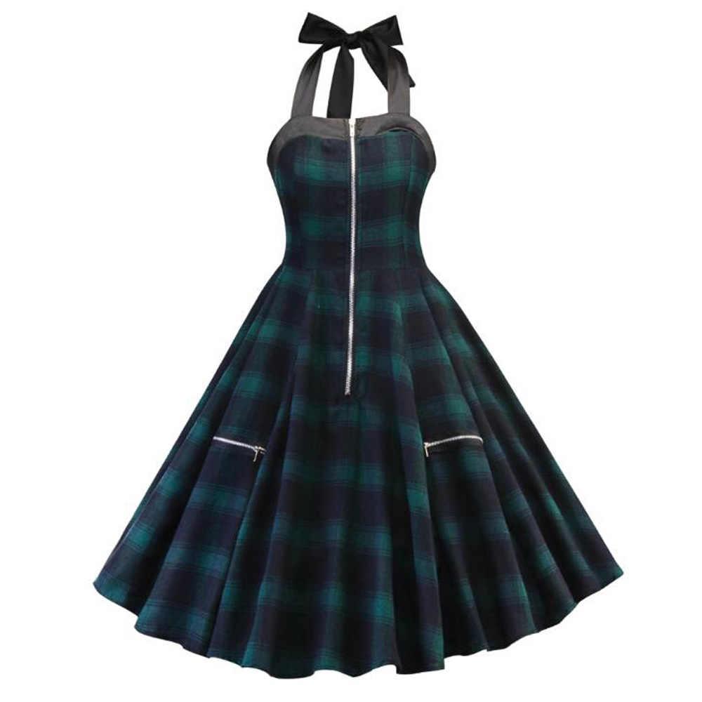 60s рокабилли платье женское клетчатое винтажное платье на молнии ретро одежда большие качели домохозяйка Pinup размера плюс вечерние платья для выпускного вечера