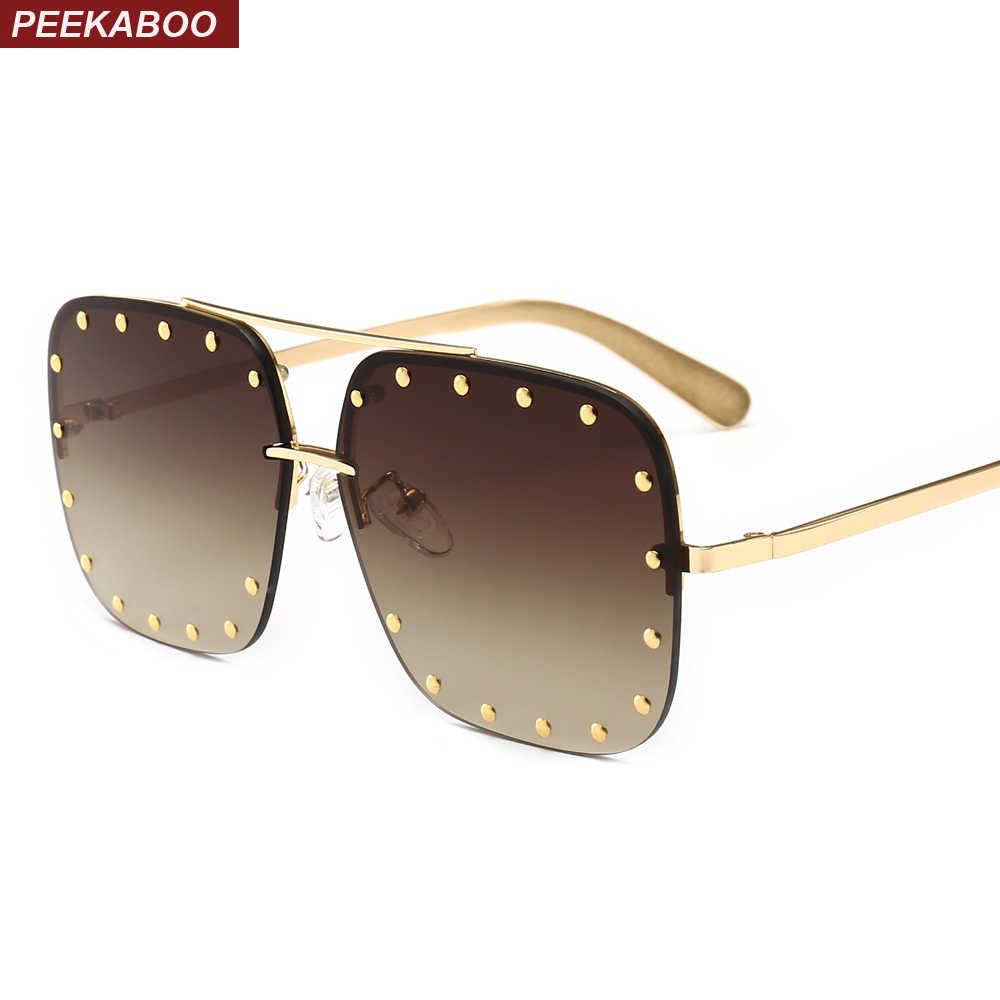 d76f16b8501f Peekaboo retro rivet sunglasses men half frame 2019 gold brown rimless sun  glasses for women square