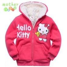 2017Retail Baby girls Cartoon Hello Kitty Winter fur coat children outerwear girls cotton thick warm hoodies