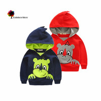 New Children Clothing Boys Autumn and Spring Terry Cotton Long-sleeved Hooded Cartoon Rhinoceros Design Children Sweatershirt