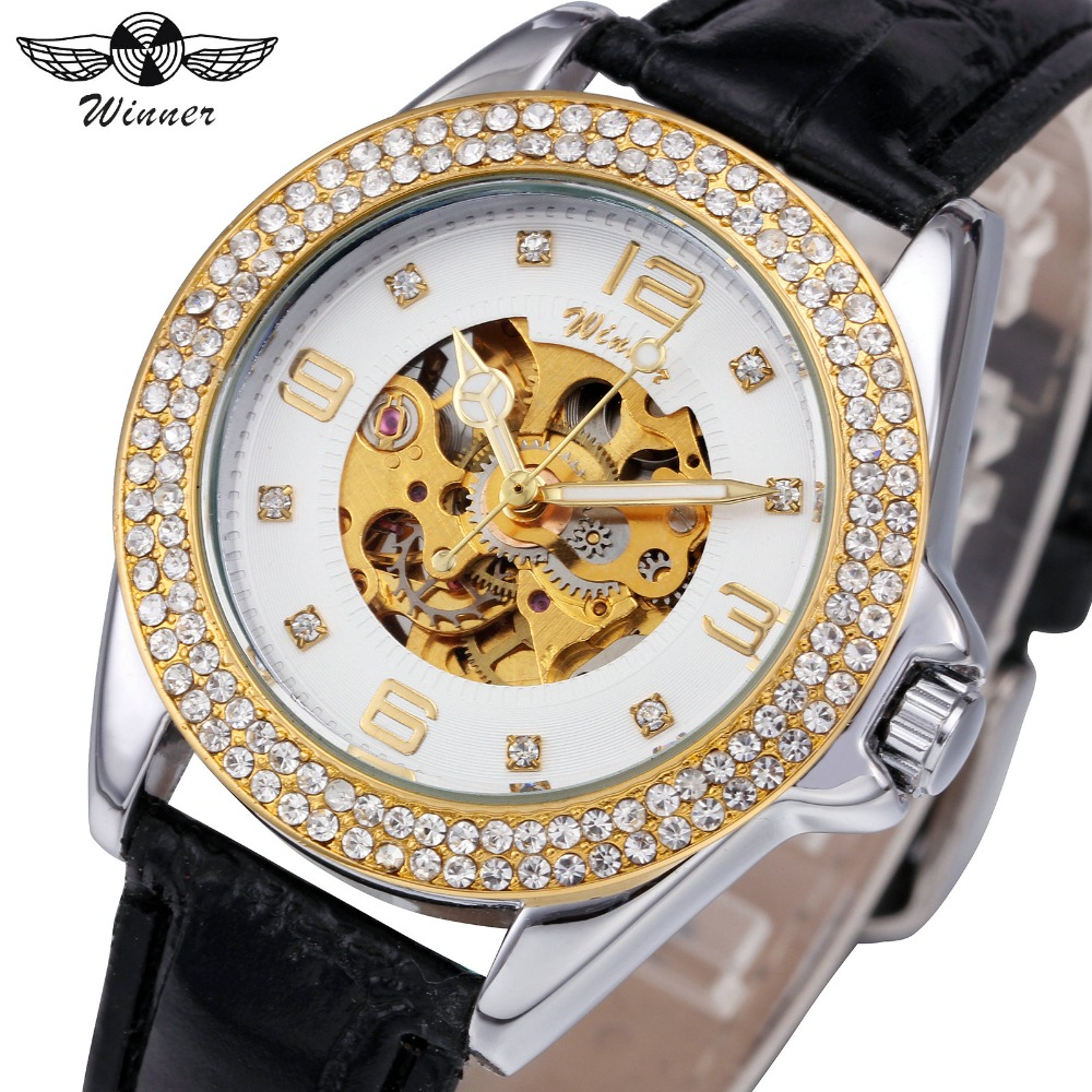 WINNER Fashion Watches Women Auto Mechanical Watch Skeleton Dial Crystal Iced Out Design Leather Strap Elegant Ladies Wristwatch winner men fashion black auto mechanical watch leather strap skeleton dial square shape round case unique design cool wristwatch