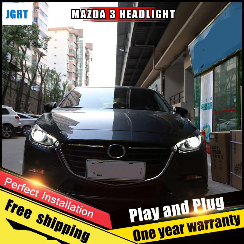 2PCS Car Style LED headlights for Mazda 3 Axela 2017 for Axela head lamp Lens Double Beam H7 HID Xenon bi xenon lens auto lighting style led head lamp for mazda 3 axe headlights for axela led angle eyes drl h7 hid bi xenon lens low beam