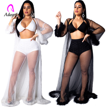 Crop Tops and Sexy Pants Cloak 3 Pieces Set Women Club Sequin Suit See Through Sheer Feather Mesh Pant Piece Outfit